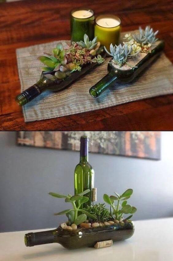 Botellas transformadas en maceteros
