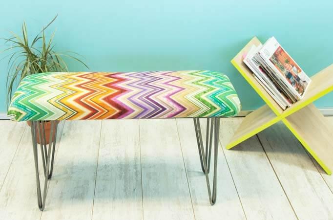 Banco de madera tapizado