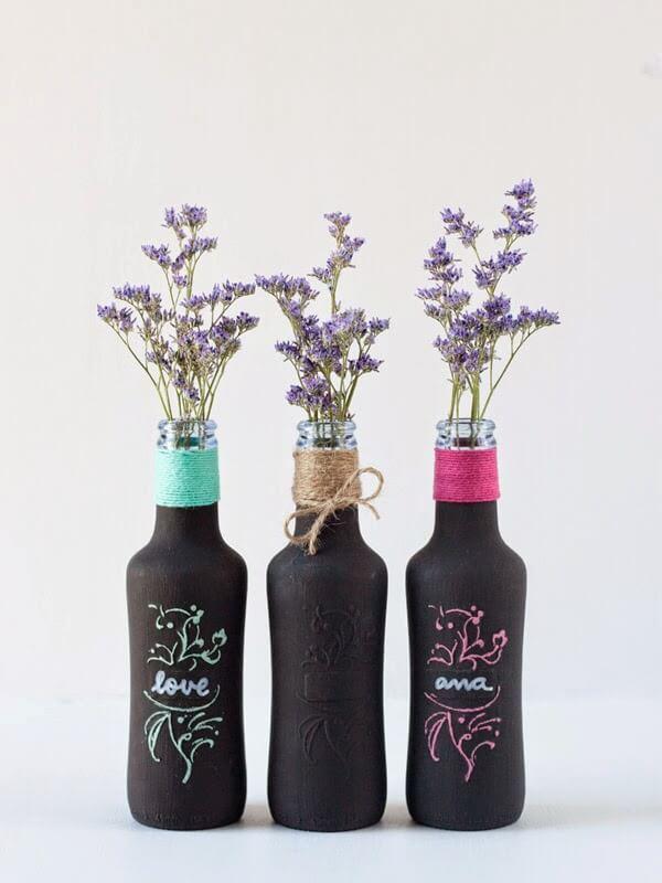 Botellas pintadas con chalk paint