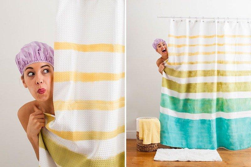 Cortina de ducha decorada - ideas para decorar el baño