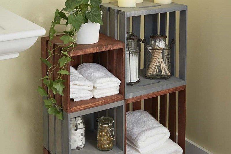 Organizador hecho con cajas de madera