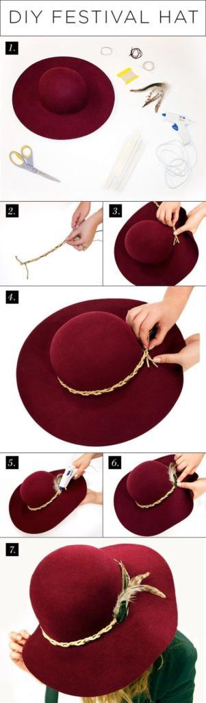 Sombrero DIY con plumas para un festival de verano
