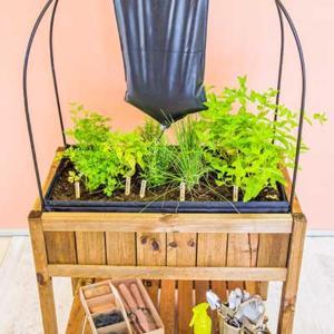 Mesa de huerto urbano con iglú de cultivo