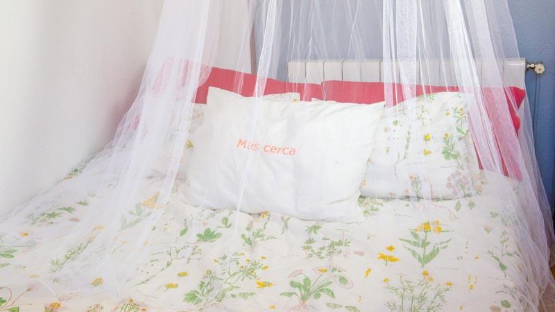 Mosquitera sobre la cama