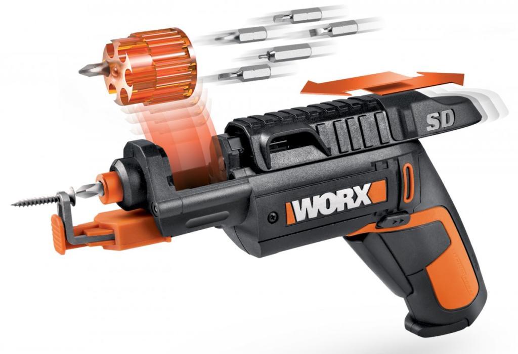 Atornillador eléctrico con cargador extraíble tipo revólver Worx
