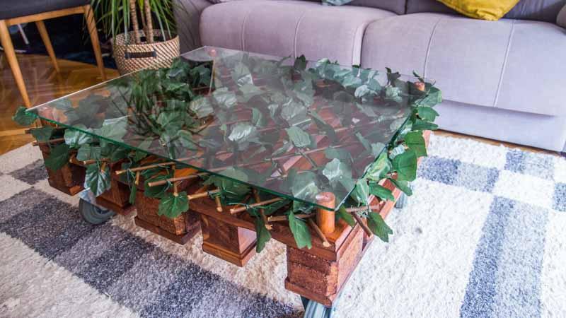 Mesa de centro con un palé