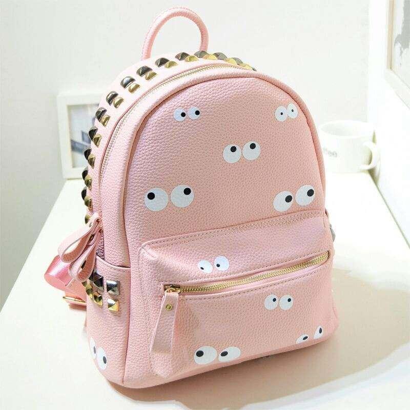 ideas-mochilas.customizadas-cuero-rosa-con-ojos-locos