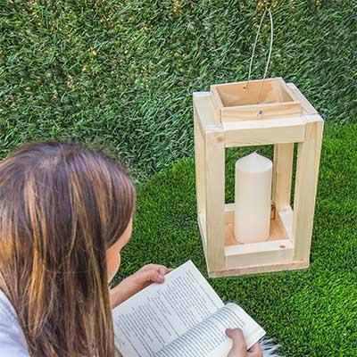 Farolillo madera handfie