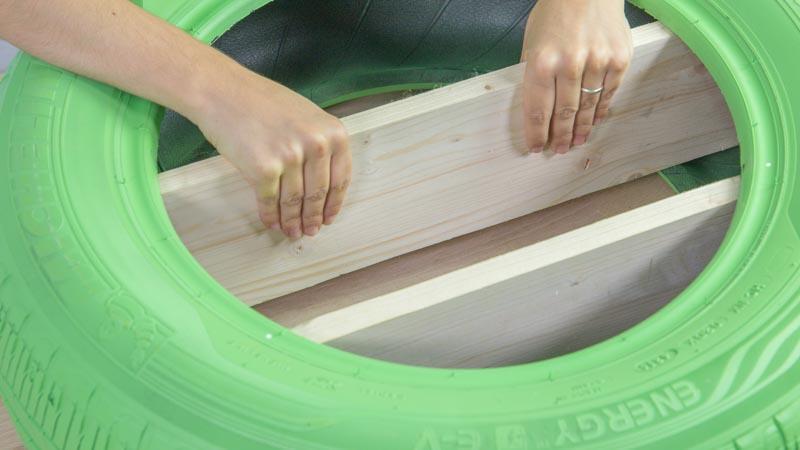 Introducción de las baldas en el neumático