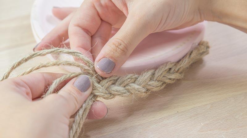 Preparación de la cuerda para decorar los platos