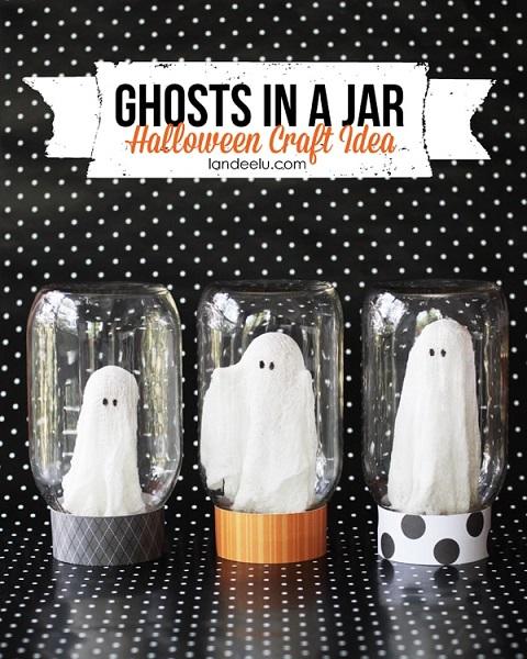 decoración con tarros de cristal y fantasmas