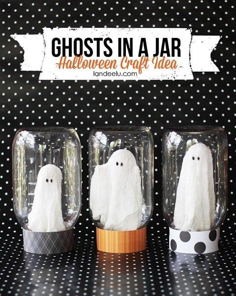 Fantasmas en botes para decorar en Halloween