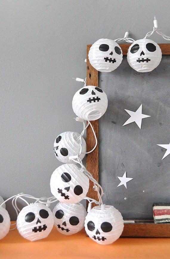 farolillos de calaveras para decoración diy de Halloween