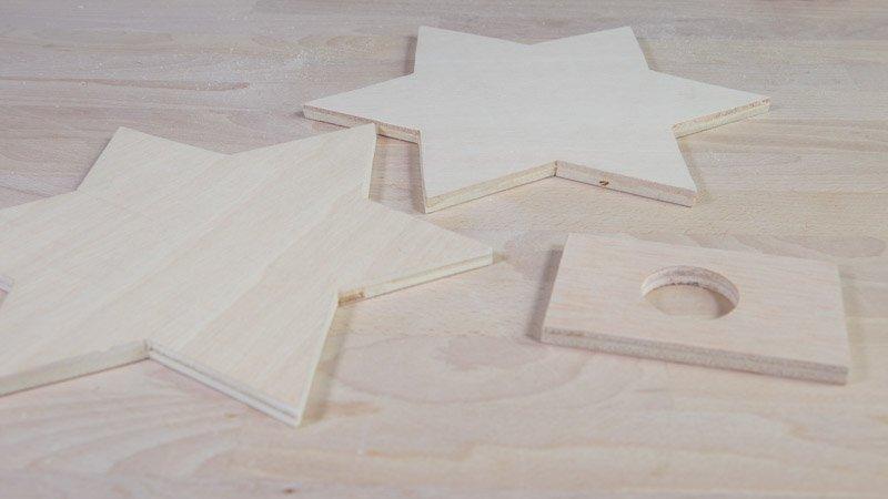 Partes de madera de la lámpara de estrella