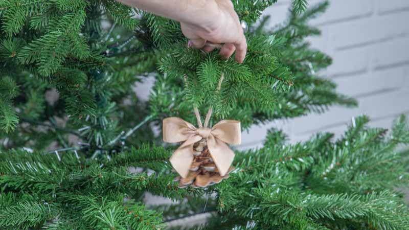 Colocación de una piña en el árbol de Navidad