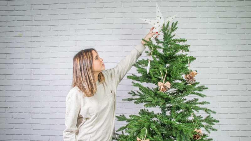 Colocación de la estrella en el árbol