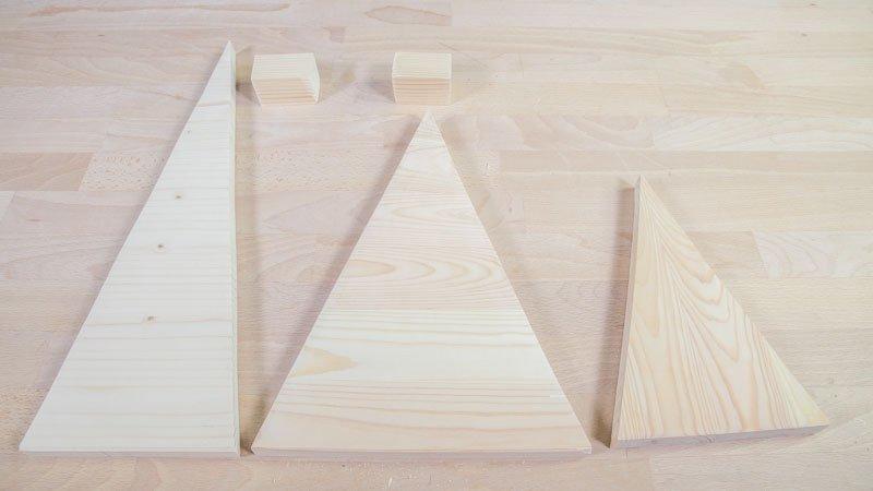 Piezas de los árboles de madera