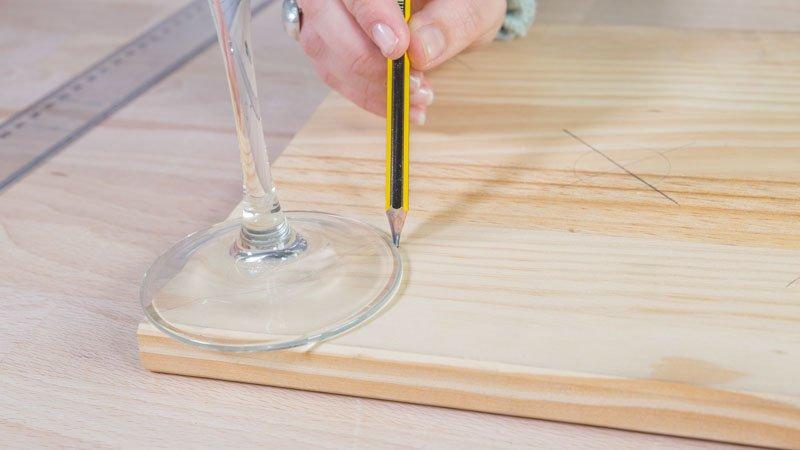 Traslación de la base de la copa al tablero de madera