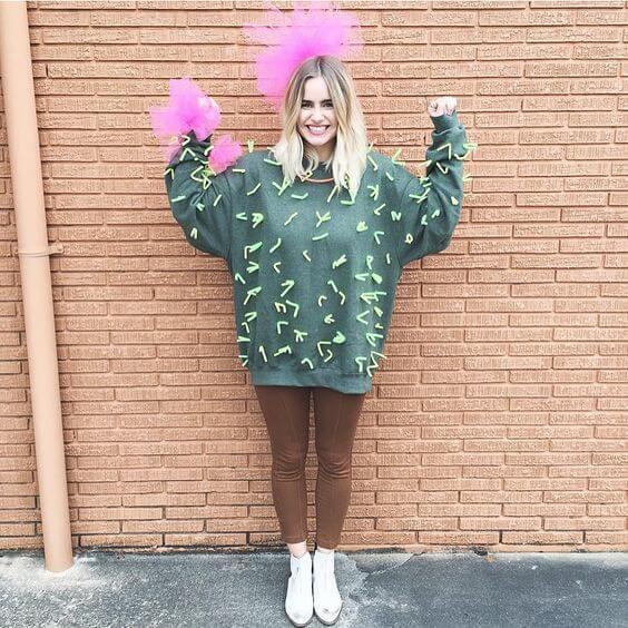 Disfraz fácil de cactus para Carnaval