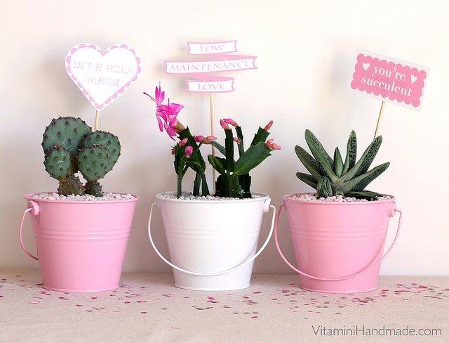 Macetas decoradas para San Valentín