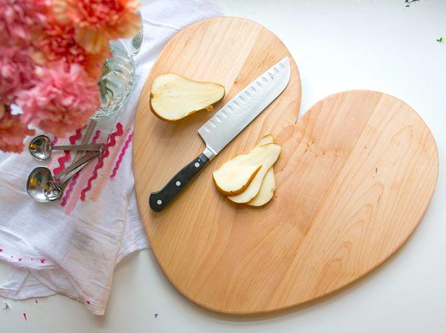Tabla de cortar con forma de corazón