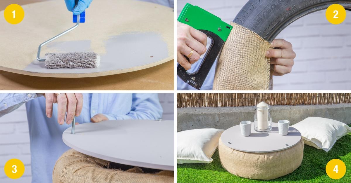 C mo hacer una mesa con un neum tico handfie diy for Mesas con neumaticos