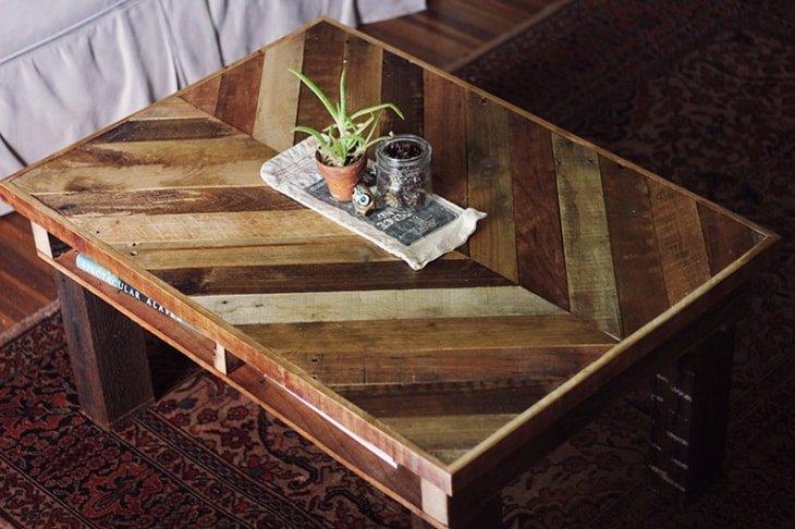 mesa de centro para el saln hecha con lamas de palet - Mesas Con Palets