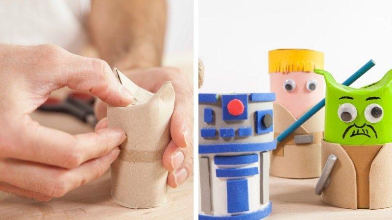 Muñecos de Star Wars hechos con rollos de papel higiénico y goma eva