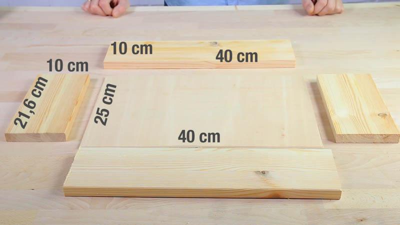 Medidas de las piezas de madera que forman el cajón