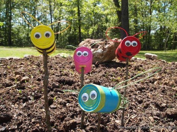 Manualidades con lata: bichitos para decorar el jardín