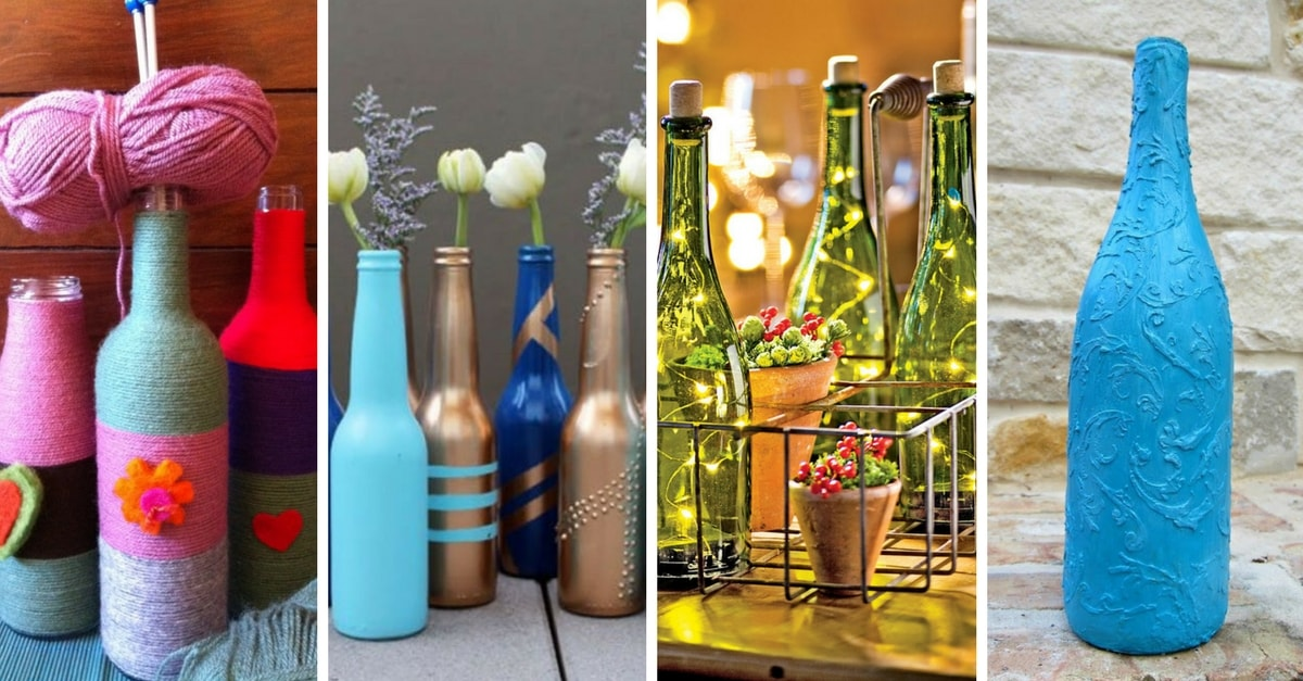 Botellas decoradas 15 ideas para transformarlas - Como decorar botellas de vidrio ...