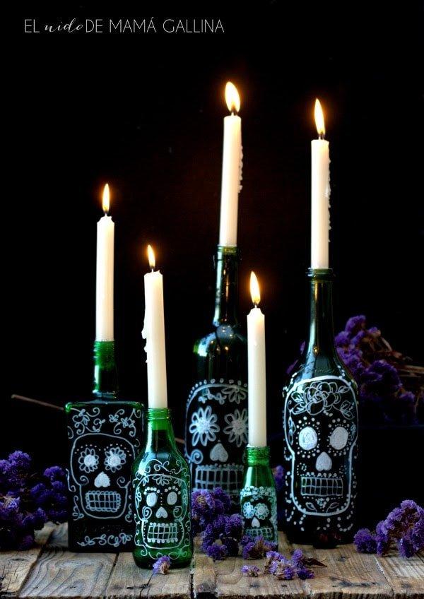 Decorar botellas para Halloween