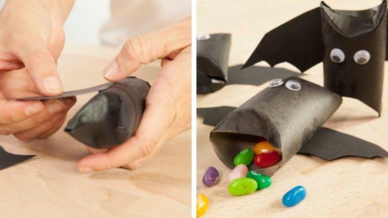 Cómo hacer murciélagos de cartón con rollos de papel higiénico