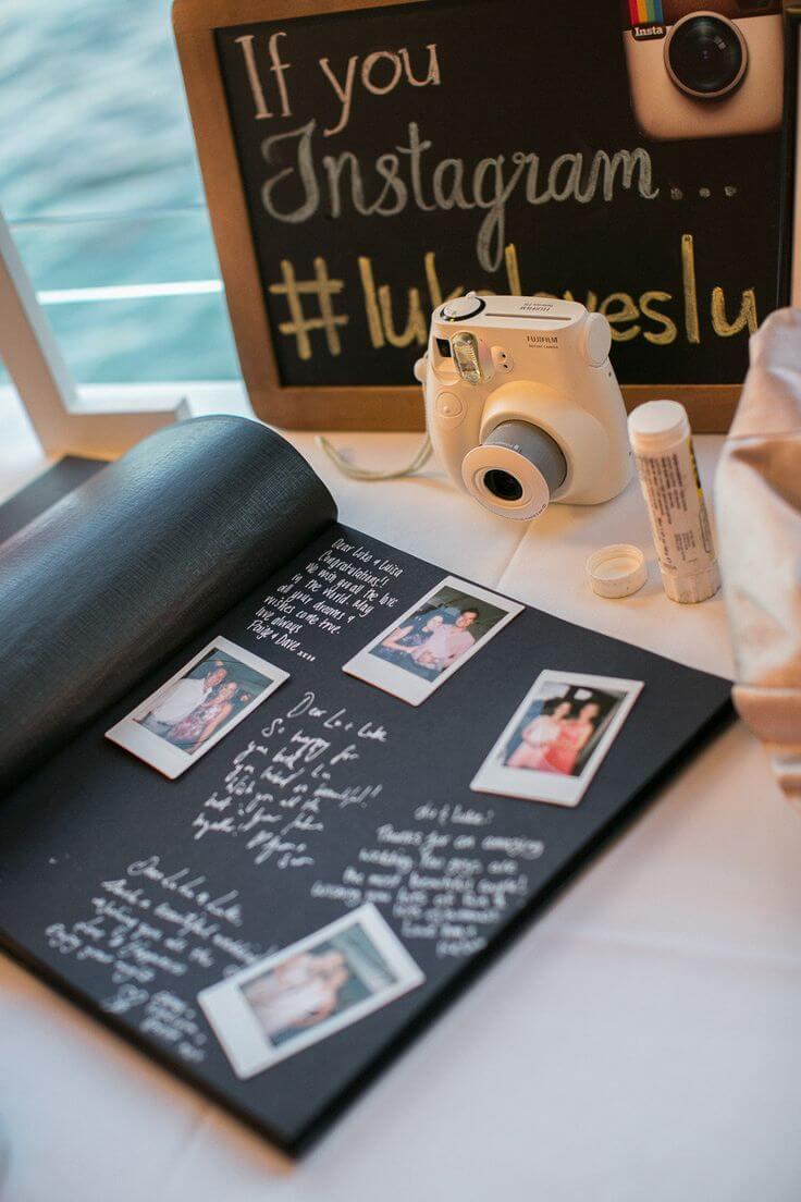 Ideas para el libro de firmas de la boda con cámara instantánea