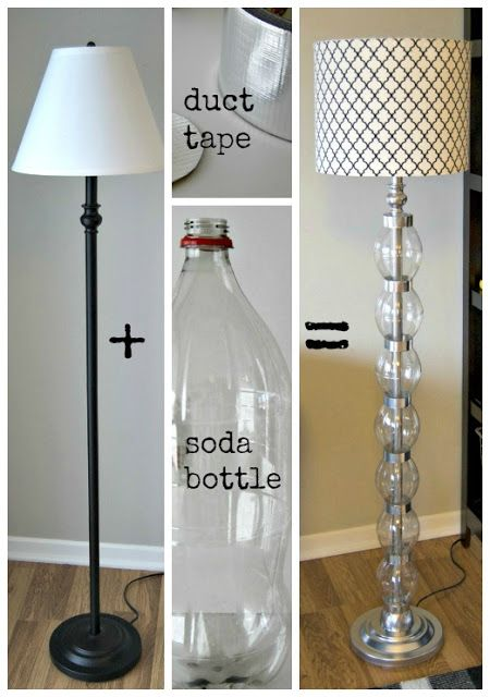 Lámpara de pie hecha con botellas de plástico recicladas