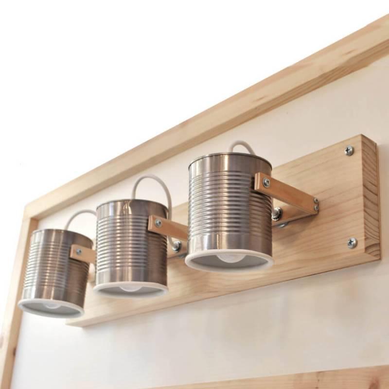 Reciclar latas: portalámparas de pared