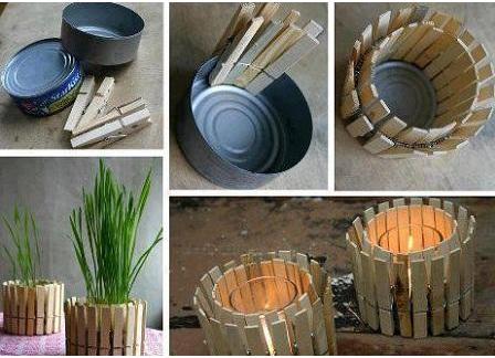 Portavelas con pinzas de madera