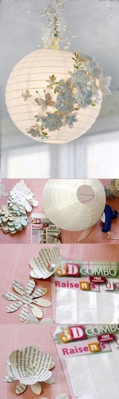 Lámpara hecha con papel de periódico