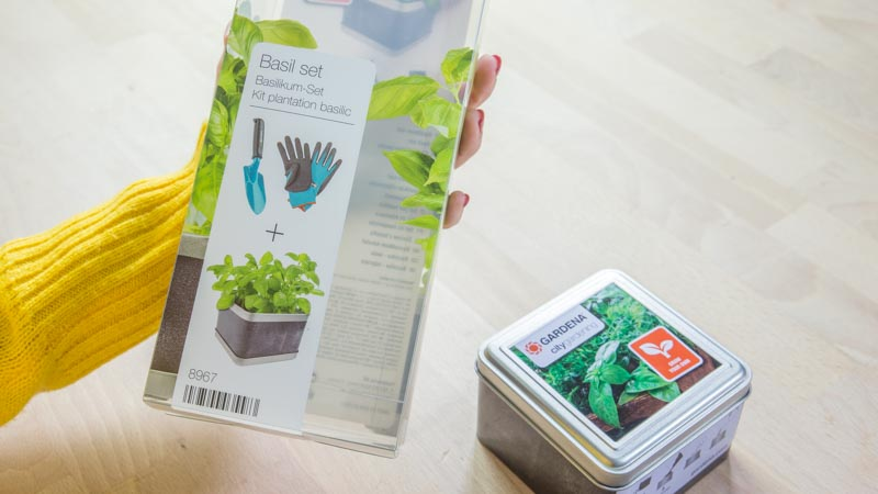 Packaging del basil set de Gardena
