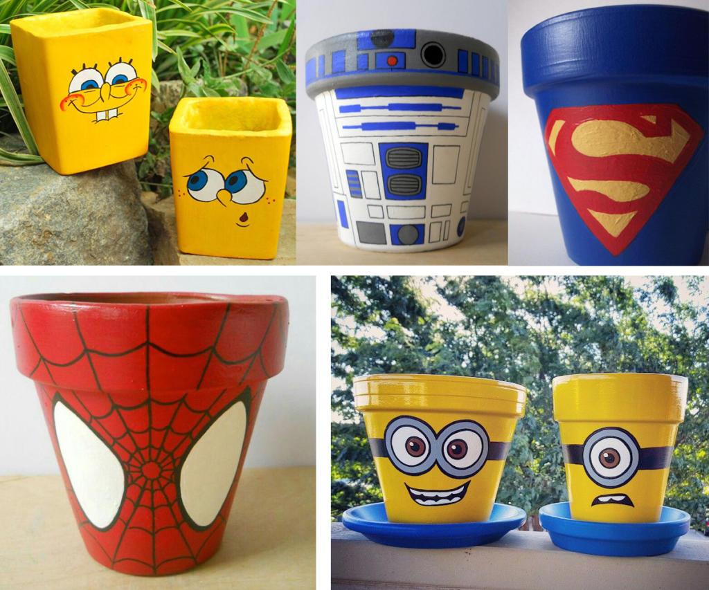 Macetas de superhéroes y dibujos animados