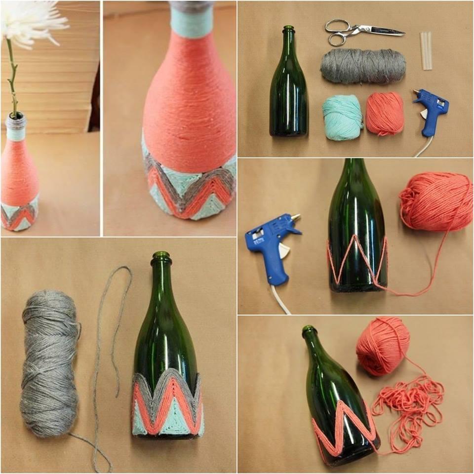 Cómo decorar una botella con lana