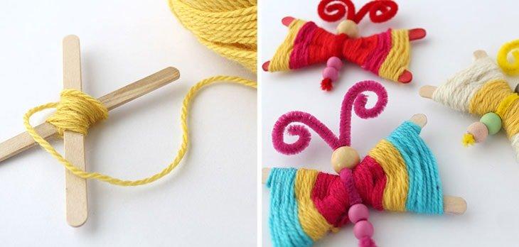 Cómo hacer mariposas con lana
