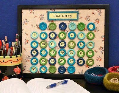 Cómo hacer un calendario en un marco de fotos y con botones de colores