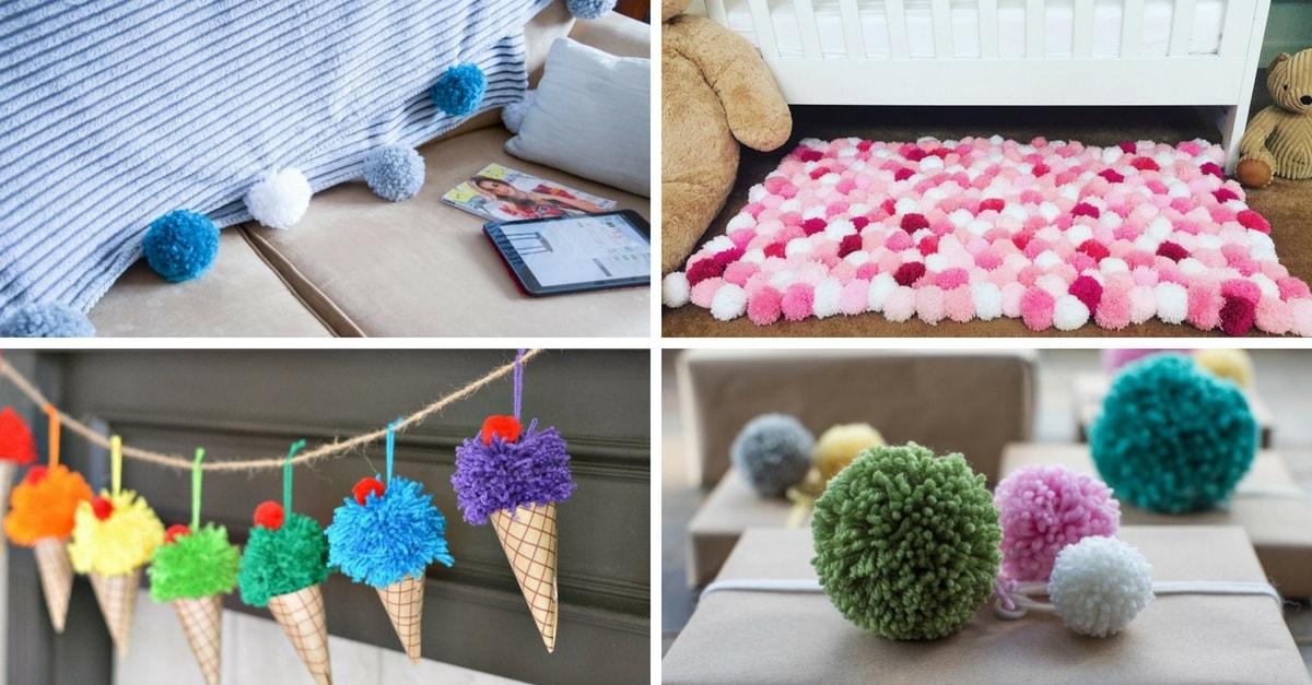Manualidades con pompones 13 ideas geniales handfie diy - Manualidades en lana ...