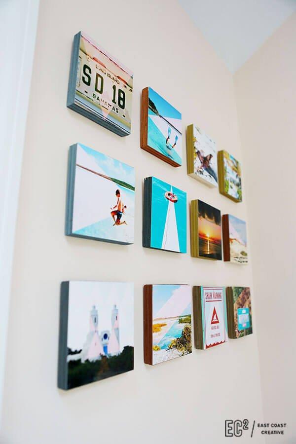 Fotos plasmadas sobre tacos de madera