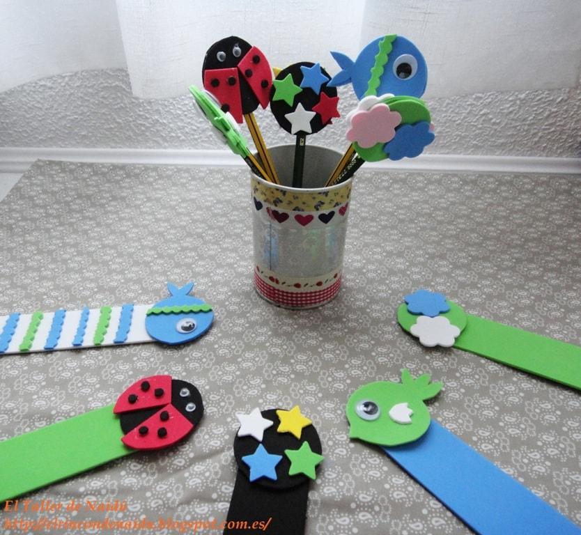 Manualidades para la vuelta al cole: lápices decorados con goma eva