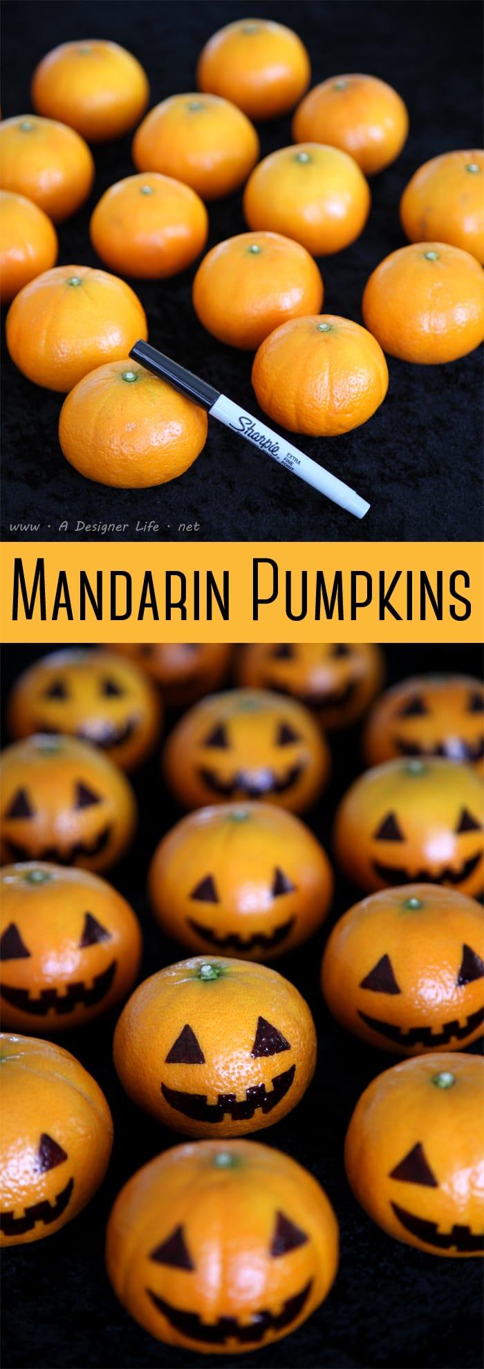 Decoración de Halloween con mandarinas