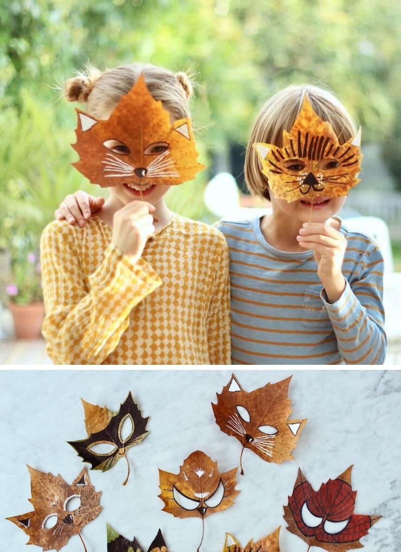 manualidades-de-otono-infantiles-mascaras-hechas-con-hojas-secas