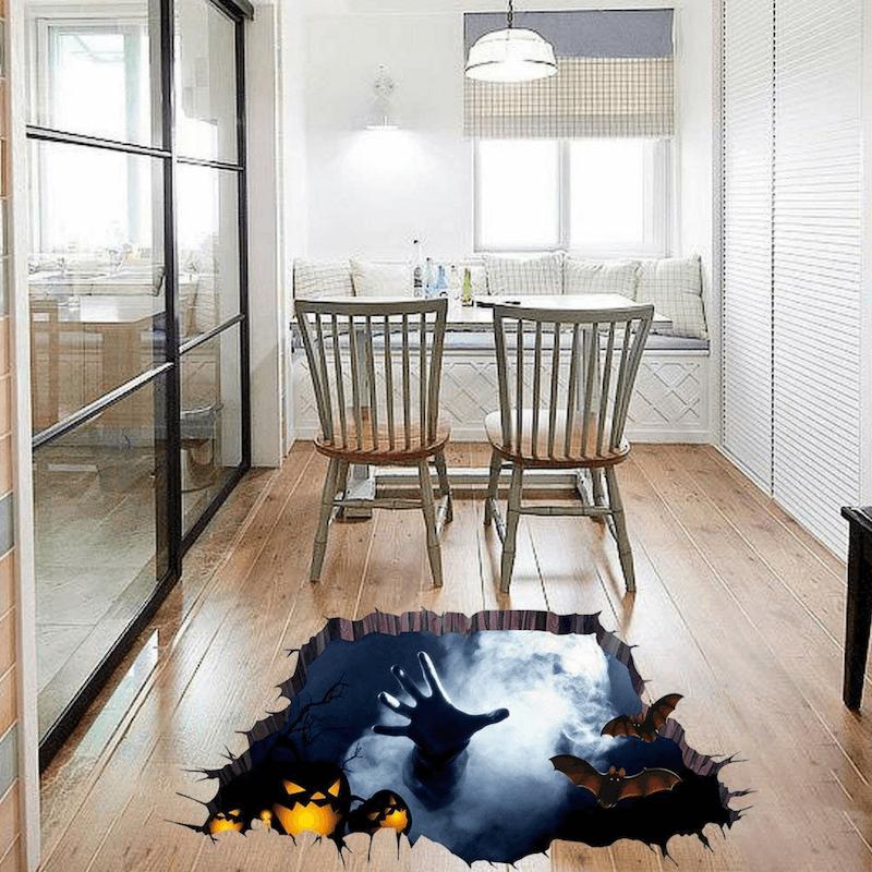 Agujero negro con vinilo en el suelo