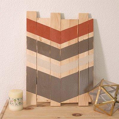 Cuadro decorativo con listones de madera
